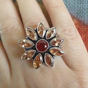 Jewelry - Amazing peach topaz garnet stamped 925 ring